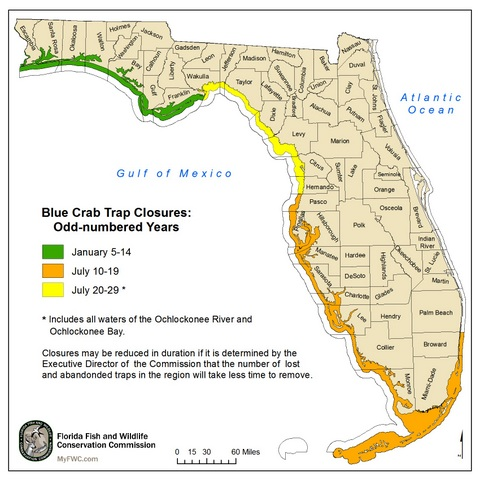 blue crab trap closure map west coast