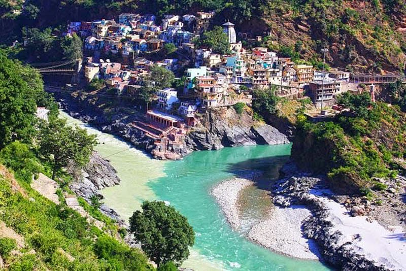 Confluence of the Alaknanda and Bhagirathi Rivers in Devprayag, India.