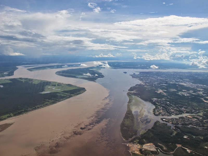 Confluence of the Rio Negro and the Rio Solimoes near Manaus, Brazil.