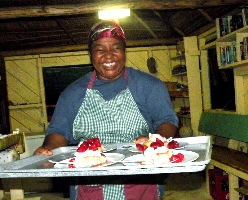 Marcy Norales serving us Homemade Strawberry Shortcake!